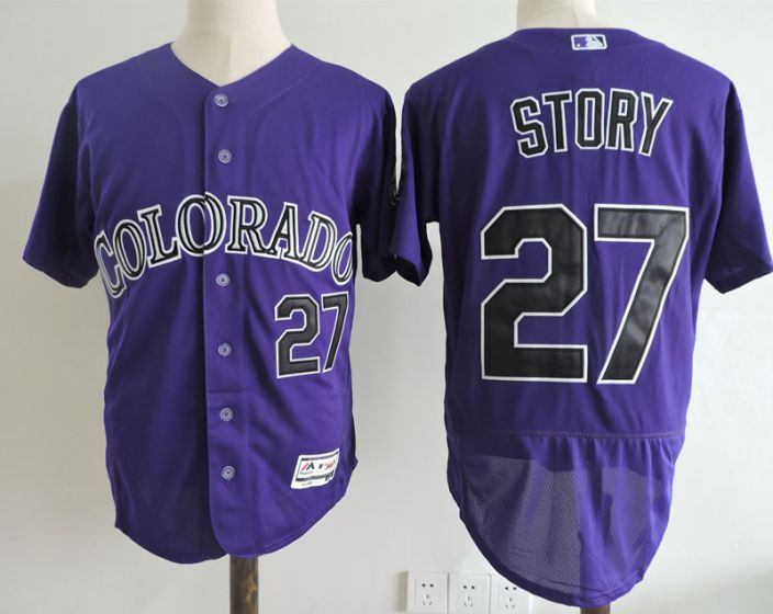 Men Colorado Rockies 27 Story Purple Elite MLB Jerseys