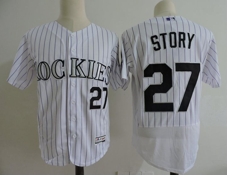 Men Colorado Rockies 27 Story White Elite MLB Jerseys