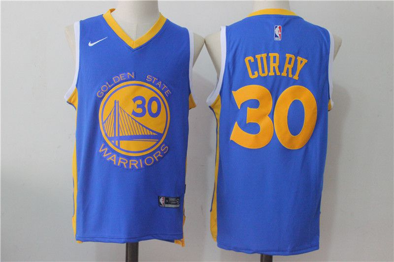 Men Golden State Warriors 30 Curry Blue NBA Jerseys