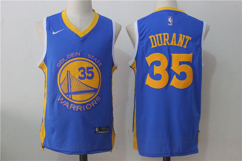 Men Golden State Warriors 35 Kevin Durant Blue NBA Jerseys