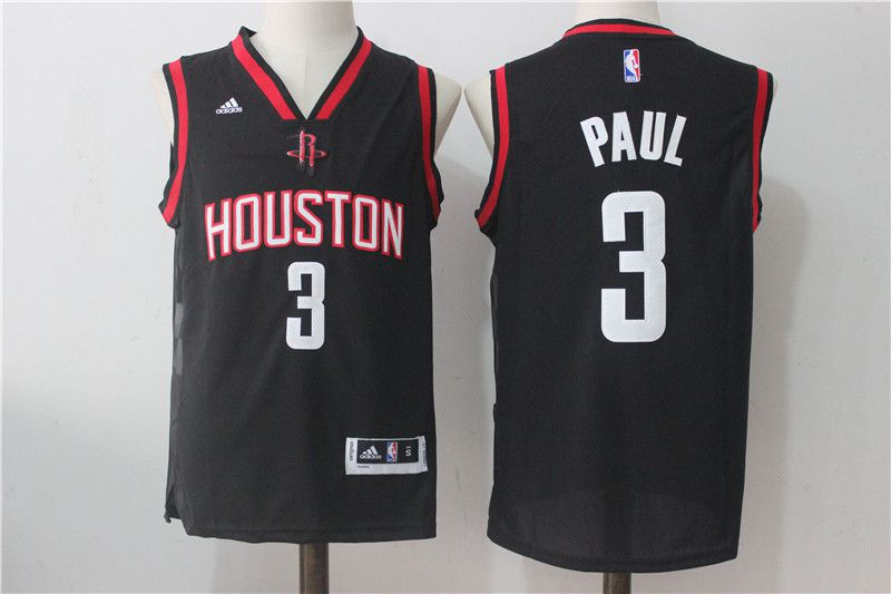Men Houston Rockets 3 Paul Black NBA Jerseys