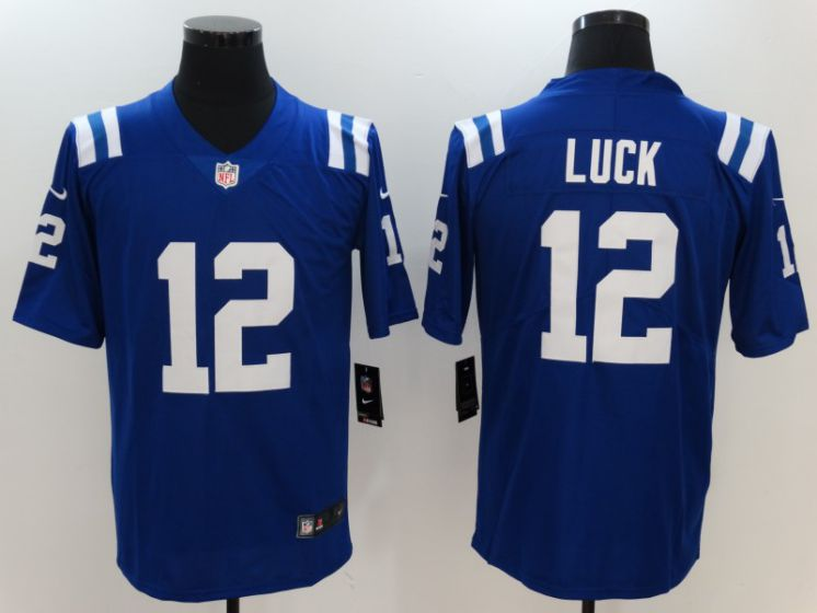 Men Indianapolis Colts 12 Luck Blue Nike Vapor Untouchable Limited NFL Jerseys