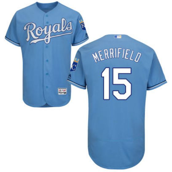 Men Kansas City Royals 15 Whit Merrifield Light Blue 2016 Flexbase Majestic Baseball MLB Jersey