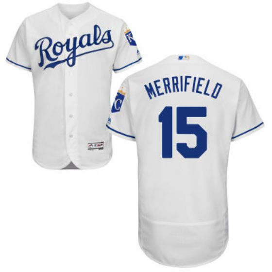 Men Kansas City Royals 15 Whit Merrifield White Home 2016 Flexbase Majestic Baseball MLB Jersey
