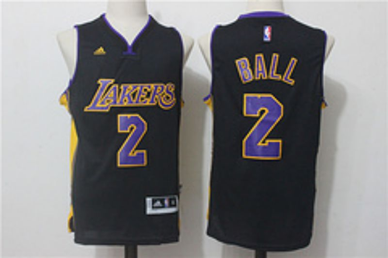Men Los Angeles Lakers 2 Ball Black NBA Jerseys