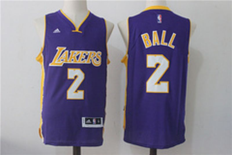 Men Los Angeles Lakers 2 Ball Purple NBA Jerseys