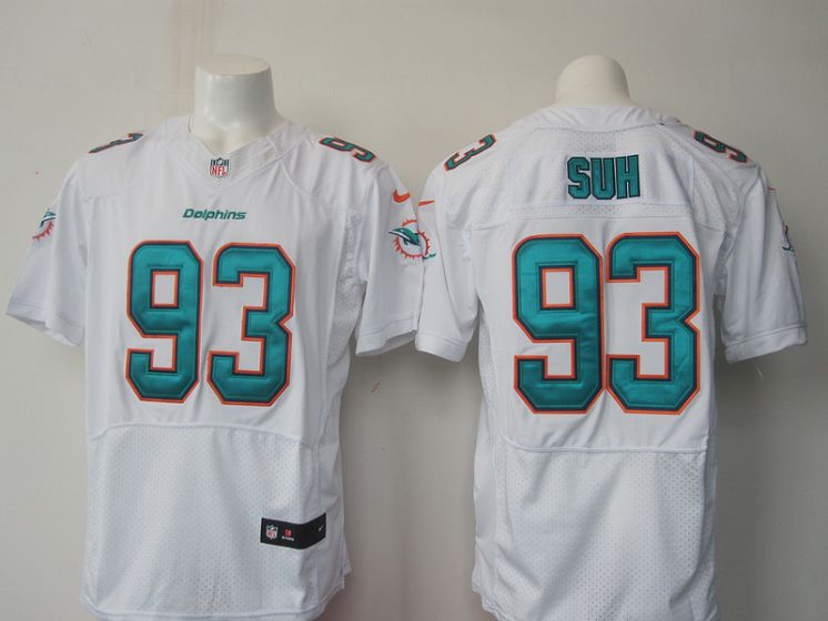 Men Miami Dolphins 93 Suh white NFL Nike Elite Jersey