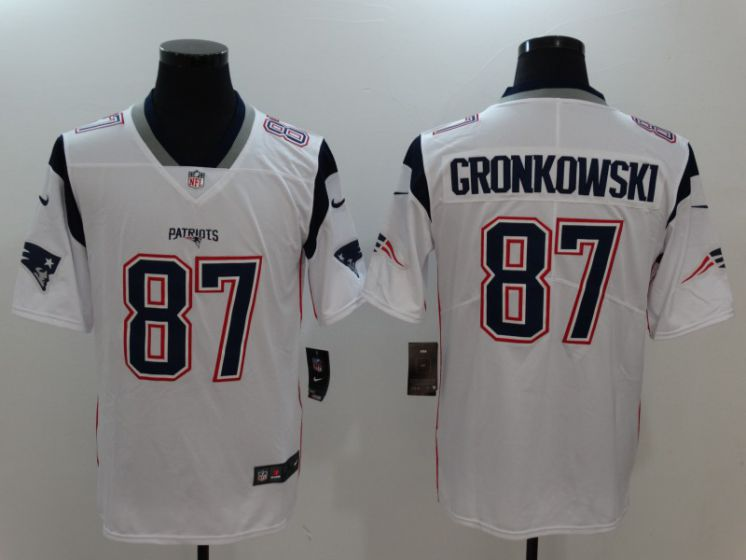 Men New England Patriots 87 Gronkowski White Nike Vapor Untouchable Limited NFL Jerseys