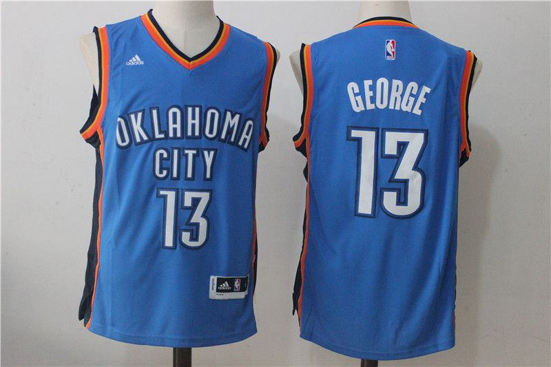 Men Oklahoma City Thunder 13 Paul George Blue NBA Jerseys