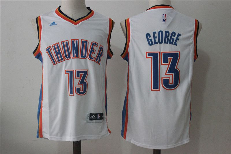 Men Oklahoma City Thunder 13 Paul George White NBA Jerseys