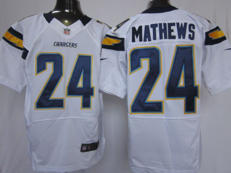 Men Los Angeles Chargers 24 Mathews white NFL Nike Elite Jersey