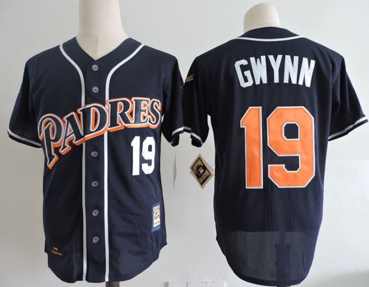Men San Diego Padres 19 Tony Gwynn Blue Throwback 1998 MLB Jerseys