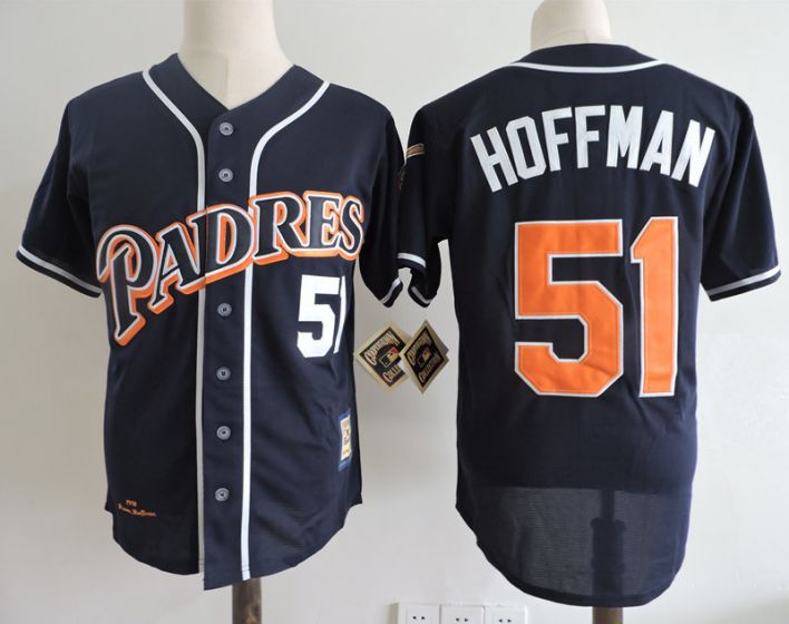 Men San Diego Padres 51 Hoffman Blue Throwback 1998 MLB Jerseys