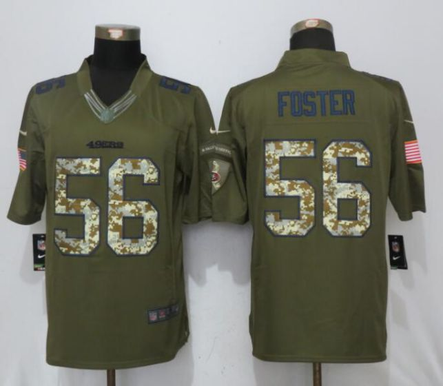 Men San Francisco 49ers 56 Foster Green Nike Salute To Service Limited NFL Jerseys