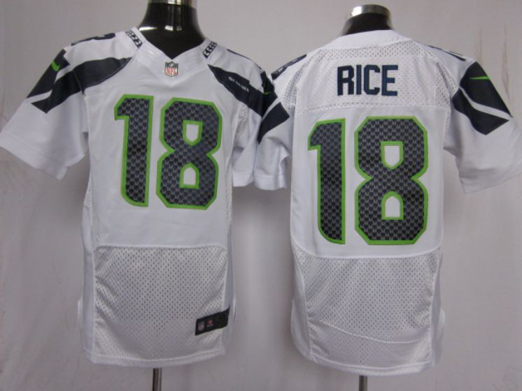 Men Seattle Seahawks 18 Rice white NFL Nike Elite Jerseys