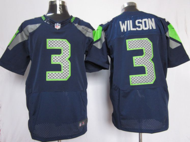Men Seattle Seahawks 3 Wilson blue NFL Nike Elite Jersey