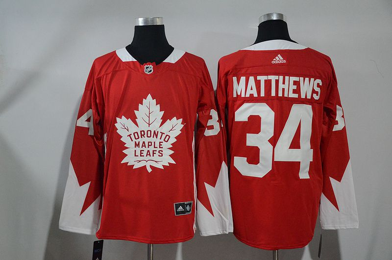 Men Toronto Maple Leafs 34 Matthews Red NHL Jerseys