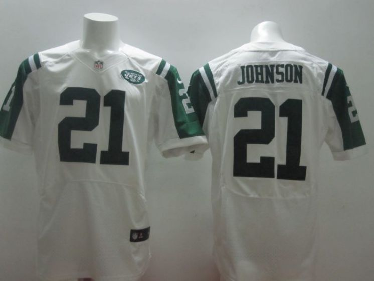 New York Jets 21 Johnson white Nike NFL Elite Jerseys