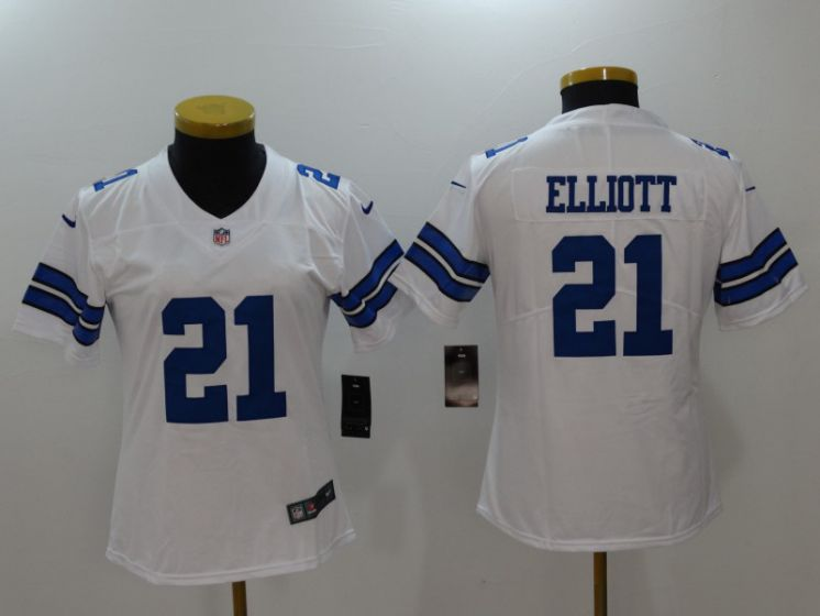 Women Dallas Cowboys 21 Elliott White Nike Vapor Untouchable Limited NFL Jerseys