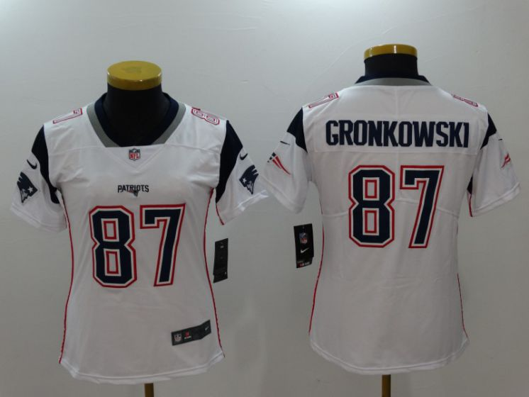 Women New England Patriots 87 Gronkowski White Nike Vapor Untouchable Limited NFL Jerseys