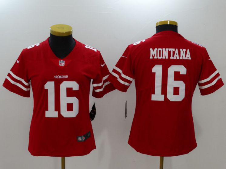 Women San Francisco 49ers 16 Montana Red Nike Vapor Untouchable Limited NFL Jerseys