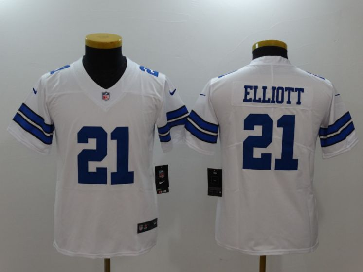 Youth Dallas Cowboys 21 Elliott White Nike Vapor Untouchable Limited NFL Jerseys