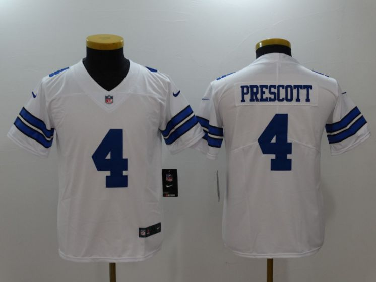 Youth Dallas Cowboys 4 Prescott White Nike Vapor Untouchable Limited NFL Jerseys