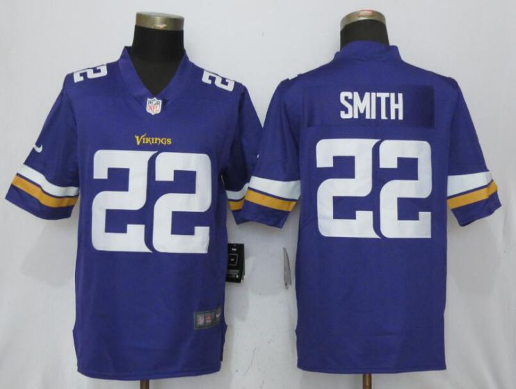 2017 men NFL NEW Nike Dallas Vikings 22 Smith Purple Vapor Untouchable Limited Jersey