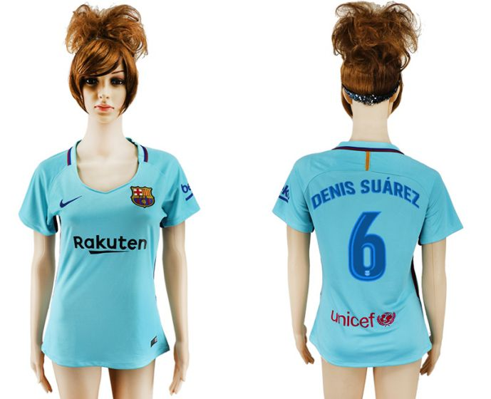 2017-2018 Club Barcelona away aaa verion women 6 soccer jersey
