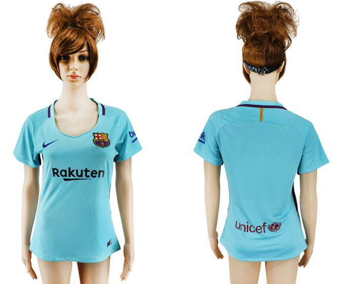 2017-2018 Club Barcelona away aaa verion women blue soccer jersey