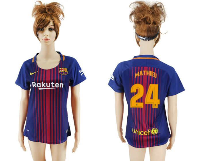 2017-2018 Club Barcelona home aaa verion women 24 soccer jersey