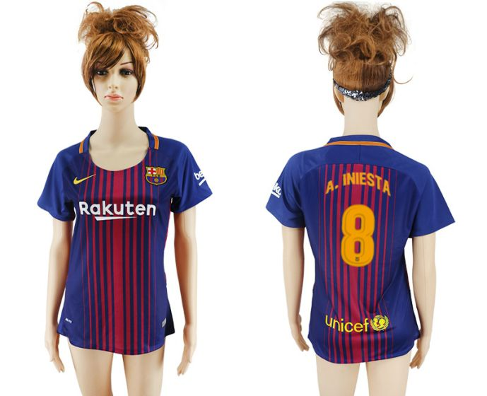 2017-2018 Club Barcelona home aaa verion women 8 soccer jersey
