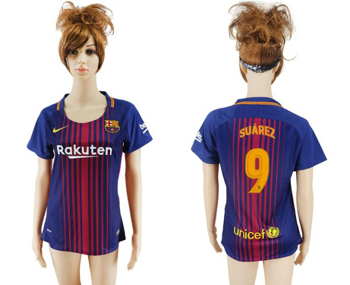 2017-2018 Club Barcelona home aaa verion women 9 soccer jersey