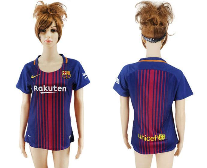 2017-2018 Club Barcelona home aaa verion women blank soccer jersey