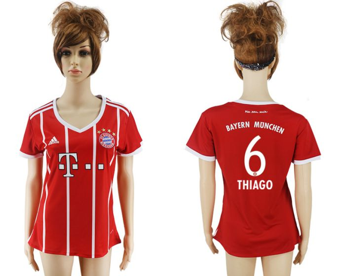 2017-2018 Club Bayern Munich home aaa verion women 6 soccer jersey
