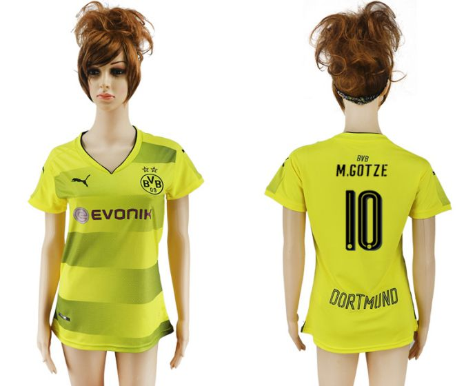 2017-2018 Club Dortmund home aaa verion women 10 yellow soccer jersey