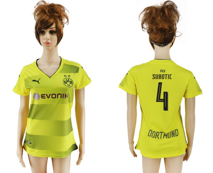 2017-2018 Club Dortmund home aaa verion women 4 soccer jersey
