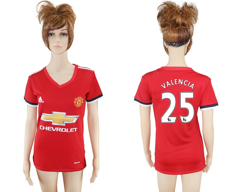 2017-2018 Club Mancheter United home aaa verion women 25 soccer jersey