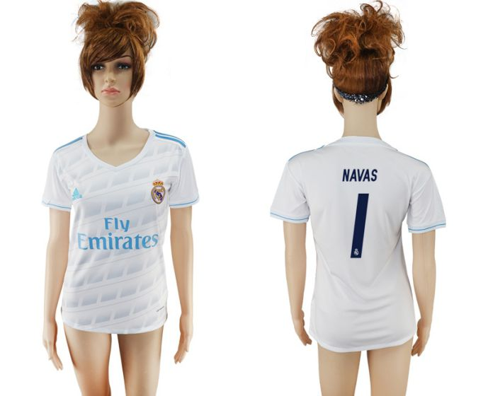 2017-2018 Club Real Madrid home aaa verion women 1 Nava soccer jersey