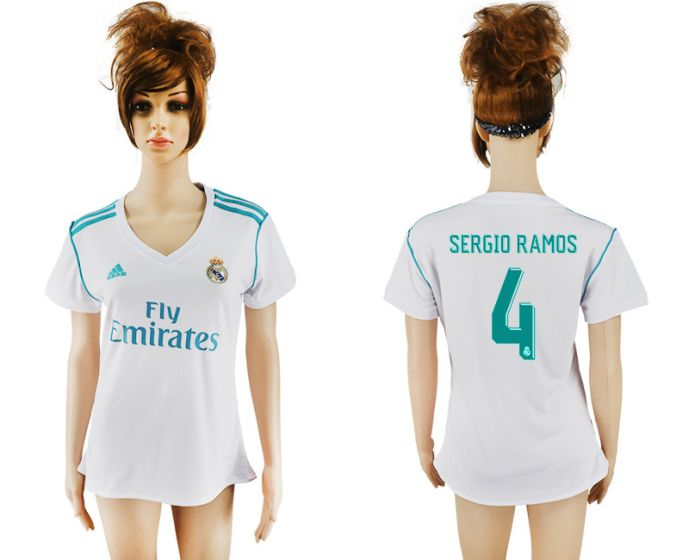 2017-2018 Club Real Madrid home aaa verion women 4 soccer jersey