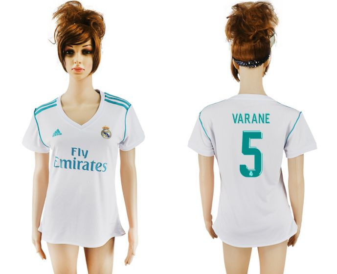 2017-2018 Club Real Madrid home aaa verion women 5 Varane soccer jersey
