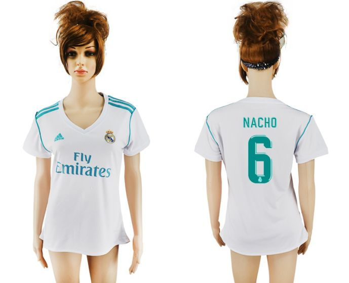2017-2018 Club Real Madrid home aaa verion women 6 soccer jersey