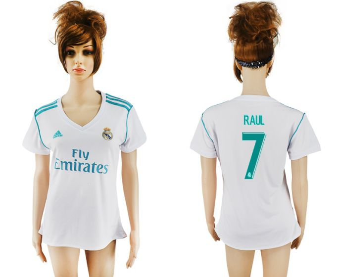 2017-2018 Club Real Madrid home aaa verion women 7 Raul soccer jersey