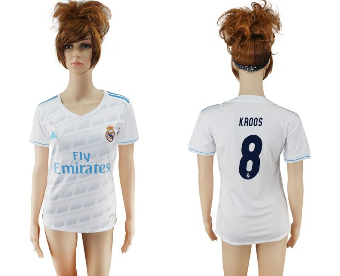 2017-2018 Club Real Madrid home aaa verion women 8 Kroo soccer jersey