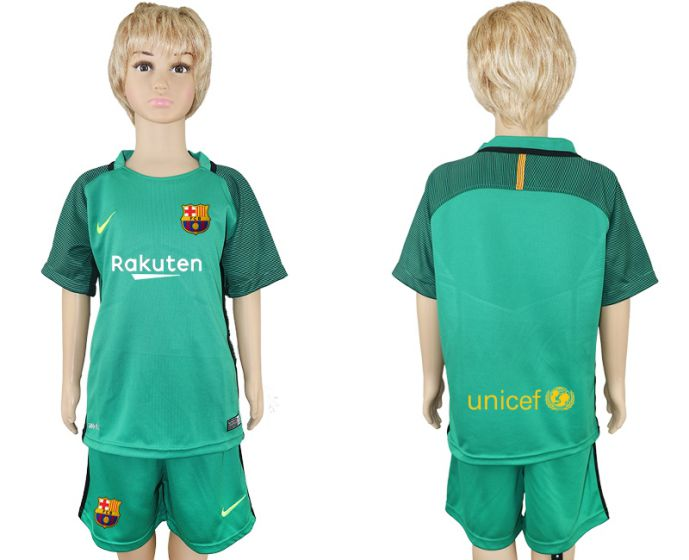 2017-2018 club Barcelona green goalkeeper soccer jersey