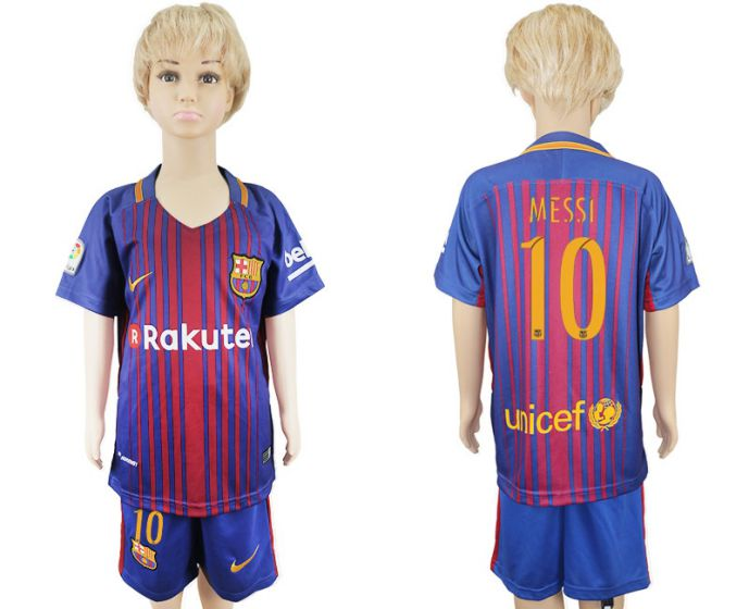 2017-2018 club Barcelona home kids 10 Messi soccer jersey