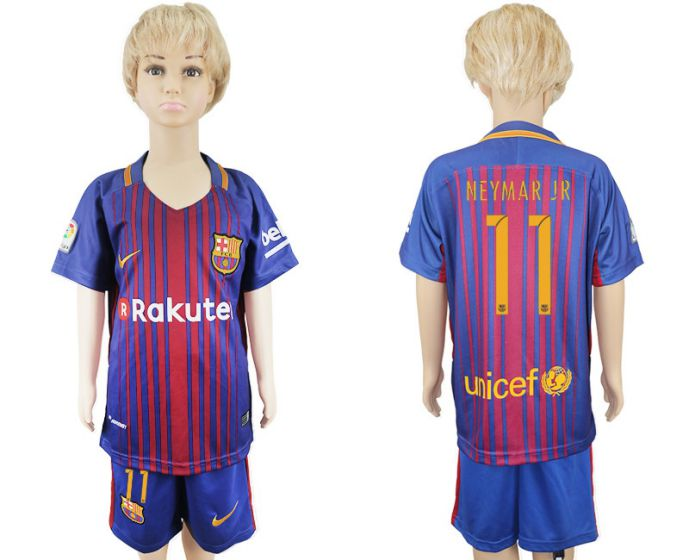 2017-2018 club Barcelona home kids 11 soccer jersey