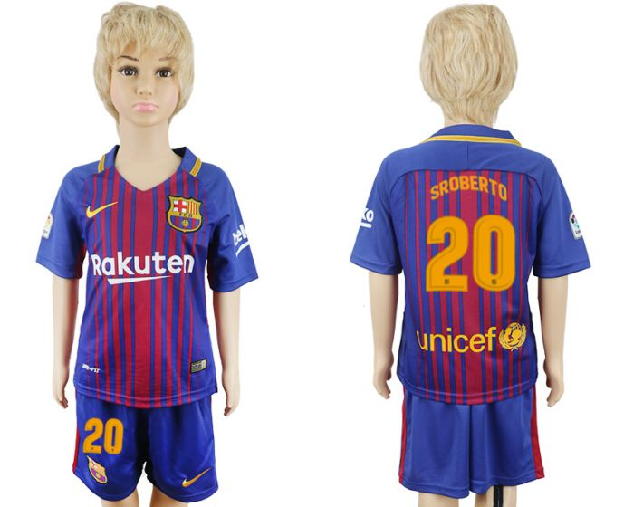 2017-2018 club Barcelona home kids 20 soccer jersey