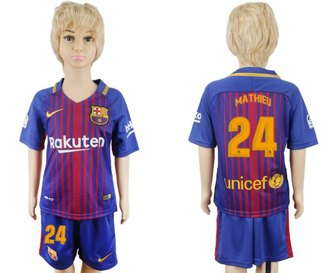 2017-2018 club Barcelona home kids 24 soccer jersey