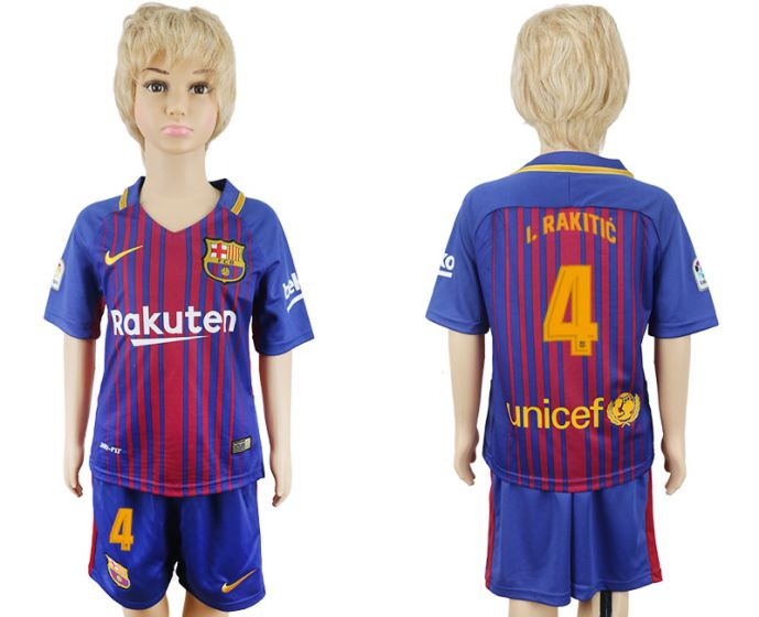 2017-2018 club Barcelona home kids 4 soccer jersey